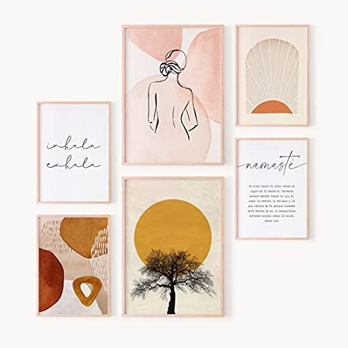 Ohbimba Set de Láminas Decorativas Abstractas - Juego de 6 Láminas (SIN MARCO) - 2 en Tamaño A3 y 4 en Tamaño A4 - Decoración para pared del Hogar - Cuadros de Yoga, Inhala Exhala y Arte Boho