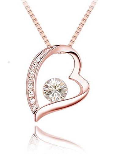 Quadiva C! Damen Halskette Herzkette (Farbe: Rosegold) verziert mit funkelnden Kristallen von Swarovski®