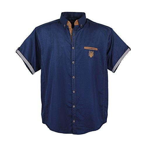 Lavecchia Modernes Herren Hemd mit Applikationen, 4XL, Navyblue