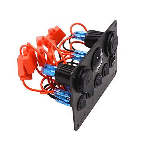 JIAQING 5 Panel de interruptores LED de pandillas Power Outlet 12V USB Cargador 4.2A Voltímetro Digital Control de interruptores de alternador Ajuste para Camper de Barco Marine RV (Color : Blue A)
