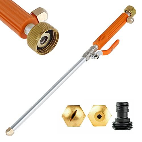 Maalr Limpiador de alta presión, portátil a alta presión, pistola de agua con 2 boquillas para manguera de jardín, lavado de coche y limpieza de ventanas (color naranja)