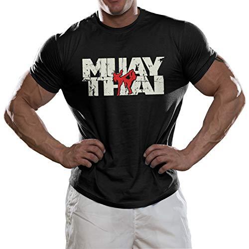 DesignDivil Muay Thai Combat Fighters T-Shirt. Kick Boxing Grappling Martial Arts Gear UFC (Large) Black