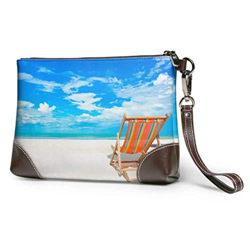 Yushg Weiche wasserdichte Ledertasche Clutch Beach Chair auf White Beach Clutch Pouch Bag mit Reißverschluss für Frauen Mädchen