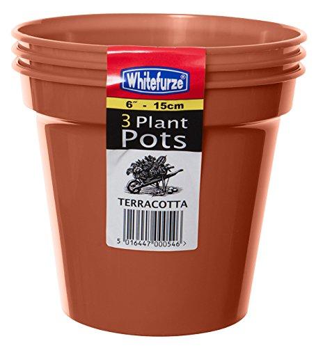 Whitefurze Garten-Blumentopf, plastik, terracotta, 15cm Garden Pot (Set of 3)