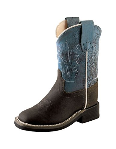 Old West Cowboy Boots Boy Leather Square Toe 6 Infant Distress BSI1884