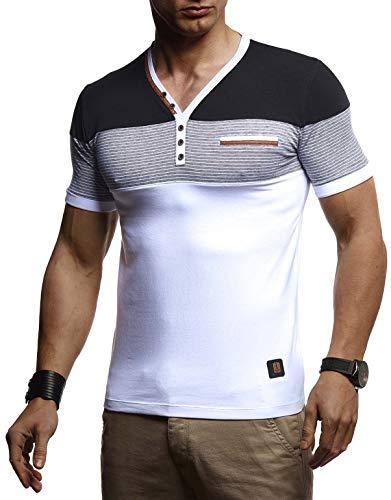 Leif Nelson La Camiseta para Hombre con Cuello en V LN-4885 Blanco Small