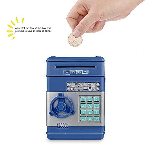 OurLeeme electrónico Contraseña Ahorro del Dinero de la Caja Fuerte Almacenamiento de Monedas Caja Fuerte con cajeros automáticos del Banco de Juguete automática de Billetes Azul