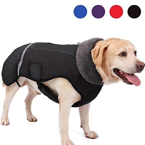 AIWOKE Großer Hund Wasserdichter Hundemantel Winterjacke, Haustier Kleidung Outdoor Winddicht Schneeanzug Reflektierende Wärmster Hundemantel für kleine mittelgroß Hunde mantels (L, Schwarz)