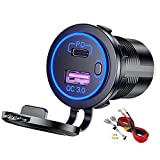 PD Type C USB Car Charger Socket and QC 3.0 Quick Charger 12V/24V Car Power Outlet Socket with ON/Off Switch Waterproof Power Delivery for Motorcycle Marine Boat RV ATV