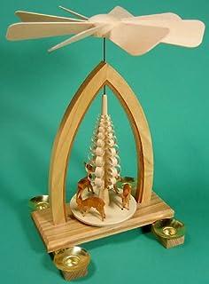 DREGENO SEIFFEN eG Dregano Holiday Deer Christmas Pyramid, Natural Wood Finish,