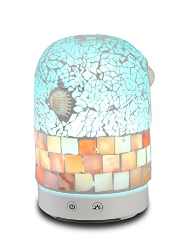 Price comparison product image AA Crackle Mosaic Glass & Real Sea Shell Aroma Essential Oil Diffuser Aromatherapy Humidifier 120ml Housing with 14-Color LED Light