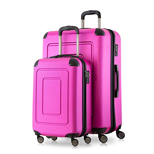 Happy Trolley - 2er Koffer-Set Trolley-Set Rollkoffer Hartschalen-Koffer Reisekoffer Lugano sehr leicht, TSA, (S+XL), Pink