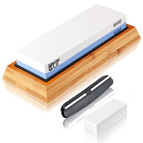 Knife Sharpening Stone Kit - 2 Side Whetstone Set 3000/8000 Grit Sharpening and Honing Waterstone Best Wet Stone Sharpener for Chefs and Kitchen Knife Anti-slip Base Angle Guide & Flattening Stone