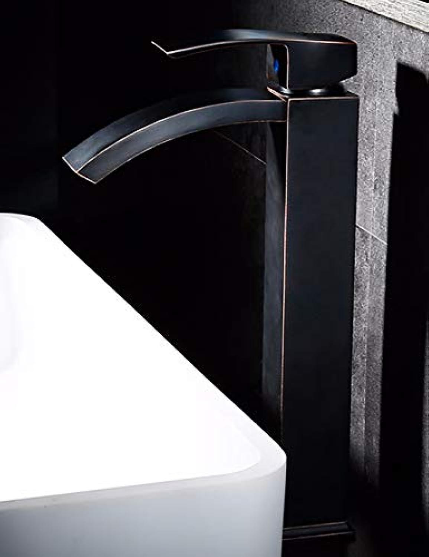 LHbox Waschbecken Waschbecken der europischen Antike Antike Messing Badezimmer mit Warmen und Kalten Einzelne Single Hole Faucet Handle, B