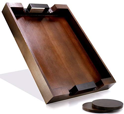 Wooden Serving Tray with Handles, Decorative Ottoman and Coffee Table Trays. 16 Inches x 12 Inches x 2 Inches. Perfect Food and Drink Platter for Home Decor (Rectangular, Rustic Brown)