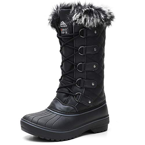 ALEADER Women's Waterproof Snow Boots, 200g Insulated Cold Weather Winter Boots Black 7 D(M) US
