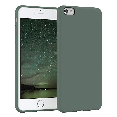 EAZY CASE Premium Silikon Handyhülle kompatibel mit Apple iPhone 6 / 6S, Slimcover mit Kameraschutz und Innenfutter, Silikonhülle, Schutzhülle, Bumper, Handy Case, Hülle, Softcase, Nachtgrün, Grün