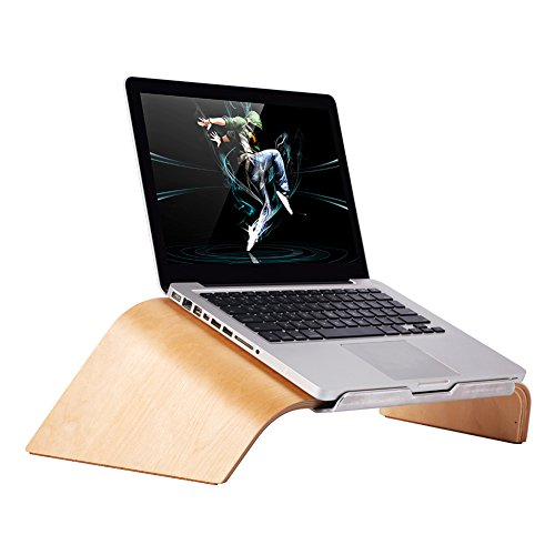 Notebook Stand, SAMDI Tilt Wooden laptop Stand Holder with Keyboard Storage for Apple Air Pro Retina 11'/12'/13'/15' and other PC Notebook (White Birch)