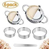 Dumplings Maker, 2pcs Stainless Steel Dumpling Mold and 3pcs Dough Ravioli Skin Press Cutter, 1pcs Stuffing Spoon-Empanadas Press Pie Mold Chinese Dumpling Pierogi Cutter Wrappers Pastry Making Tools