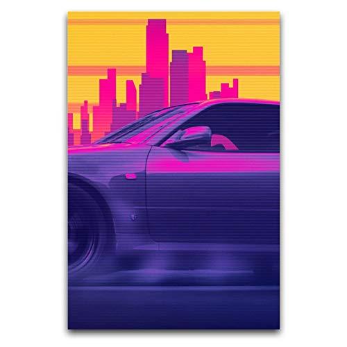 Skyline GTR OUTRUN 2 pósteres decorativos de pintura en lienzo para pared para sala de estar, dormitorio de 60 x 90 cm