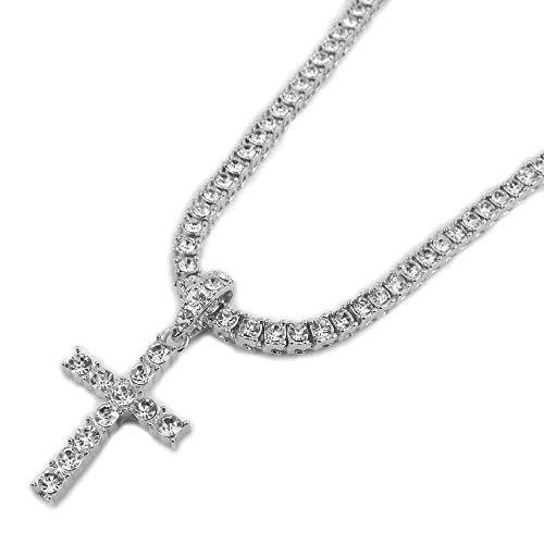 CEXTT Crystal Cross Charm Colgante Cadena de Tenis para Mujeres Clave de la Vida Collar de Hombre Helado out Jewelry 22 Pulgadas