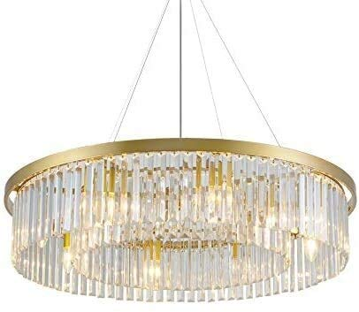 Luminarias, 212, Lámpara de araña iluminación de tambor de tambor colgante Luz de techo Lámparas de cristal transparente ajustable Luces colgantes para sala de estar, Fixturesss (Color : 6 Lights)