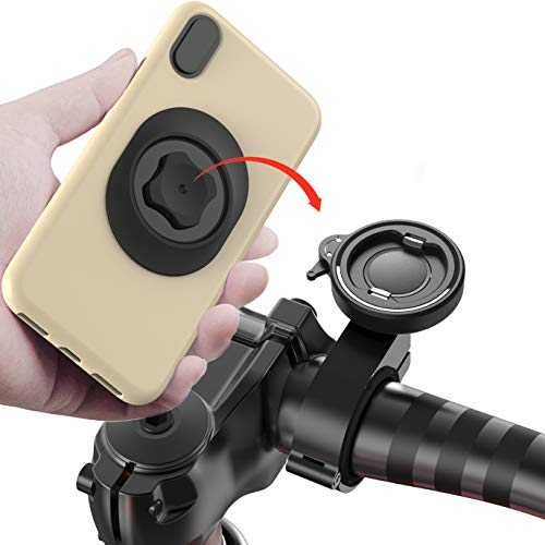 Bike Phone Mount for Motorcycle,Universal Mountain Bike Handlebars Cellphone Holder Aluminum Metal Quick Release Bracket for MTB ATV Scooter GPS Navigation Stand for iPhone 12 Samsung Google