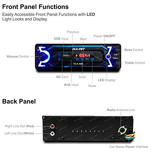 Dulcet DC-A-4009 Double IC High Power Universal Fit Mp3 Car Stereo