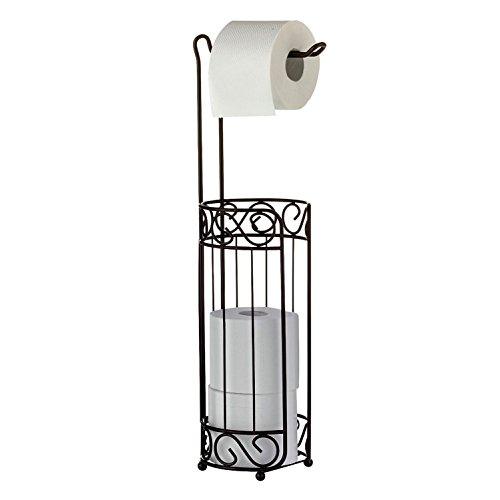 Toilettenpapierhalter Papierrollenhalter Stand - WC Toilette Papierrollen Halterung Halter - Frei stehend ohne Bohren - elegantes Nostalgie Retro Design