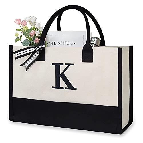 XOXSION Bolso de mano para mujer, de lona, de viaje, para el tiempo libre, gran capacidad, para ir de compras, para viajes, bolso de mano, regalo (J multicolor, talla única)