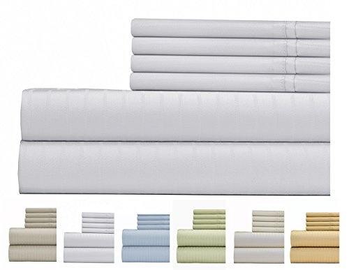 Weavely Sheet Set - 700 Thread Count Cotton-Poly Blend Bed Sheet, Pin Stripe 6 Piece Bedding Sheet Set, Hotel Quality Sheet Set with 2 Extra Bonus Pillow Cases Queen - White