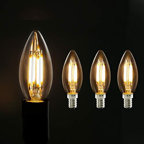 3X Edison Glühbirne LED, GBLY Vintage Glühbirne Kronleuchter in Kerzenform mit E14-Sockel, Filament Edison Kerzenlampe Warmweiß Antike Filament Beleuchtung im Haus Café Bar Restaurant, Nicht Dimmbar