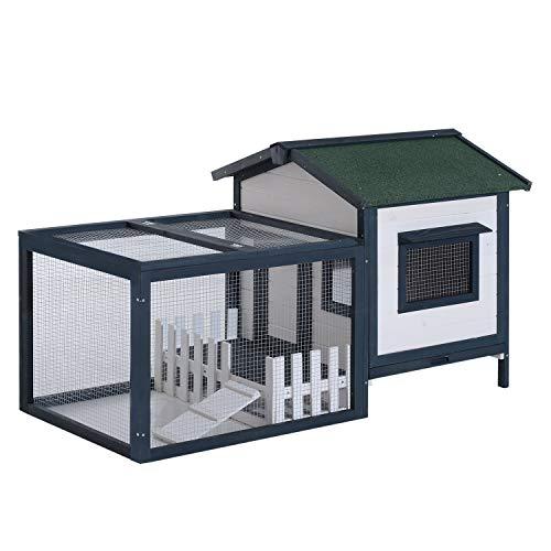 PawHut Hasenstall Hasenkäfig Meerschweinchenstall Kaninchenstall Kleintier mit Zaun Freigehege