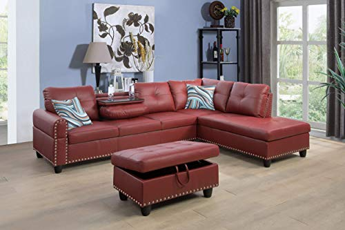 Beverly Fine Funiture Sectional Sofa Set With Drop Down Table, Burgundy