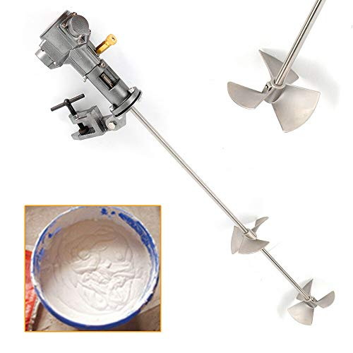 Pneumatic Paint Mixer Pneumatic Bracket Mixer Tank Barrel Air Mixer Stirring Tool Ink Coating Mixing Tool for Paint Cement Plaster Grout Mortar (50 Gallon 1/2HP Handheld & Stainless Steel Clip)