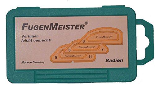 Fugenmeister-Schablonensatz, UR-03 ungerade Radien  - 3-teilig in transparenter Schachtel, größen 3/90°, 5/7, 9/11