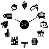 Queso y Vino Cocina Moderna Arte Pegatinas DIY Reloj de Pared Gigante Bebida alcohólica Pub Bar Signo Sacacorchos Reloj de Pared Decorativo