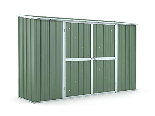 Notek Box in Acciaio Zincato Casetta da Giardino in Lamiera 3.07 x 1.00 m x h1.92 m - 75 kg – 3,07 Metri Quadri (Verde)
