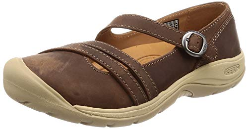 KEEN Women's Presidio II Cross Strap Mary Jane Flat, Dark Earth/Cornstalk, 10