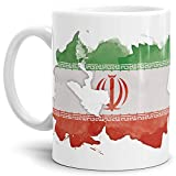 Tassendruck Flaggen-Tasse Iran Weiss - Fahne/Länderfarbe/Wasserfarbe/Aquarell/Cup/Tor/Qualität Made in Germany
