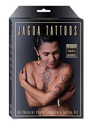 Price comparison product image No Expiration Organic Jagua Fruit Temporary Tattoo Kit,  Made in the USA,  Not premixed,  Semi-Permanent Body Painting Kit with Stencils,  12-15 Applications