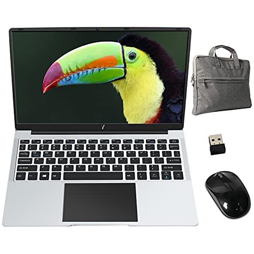 PC Portatile 14.1 Pollici FHD 1920 x 1080 Notebook con Intel Celeron 6 GB RAM 64 GB SSD Windows 10 64 Bits, Supporta SD TF 512GB, WiFi | Webcam | Bluetooth | HDMI, con Mouse e Borsa PC, Argento Scuro