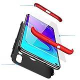 PAIPAIGUAN Huawei Nova 4 Hülle Huawei Nova 4 Handyhülle 3 in 1 Ultra Dünner PC Harte Schutzhülle 360 Grad Hülle + Panzerglas für Huawei Nova 4 Komplett Hülle Fullbody Case Cover - Schwarz Rot