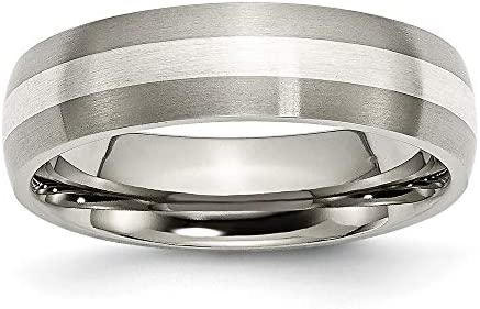 ICE CARATS Titanium Brushed 925 Sterling Silver Inlay 6mm Wedding Ring Band Size 10 50 Precious product image