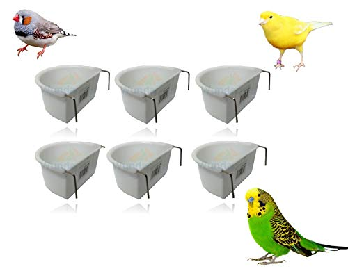 *NEW* 6 PACK WUNDAPETS 6.5 CM D-SHAPE PLASTIC BIRD BUDGIE CAGE HANG ON FEEDER COOP CUP