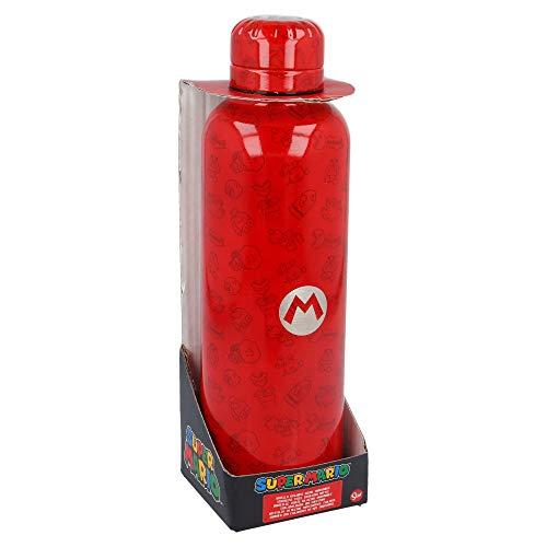 Super Mario | Botella de Agua Reutilizable de Acero Inoxidable | Cantimplora Termo con Doble Aislamiento para 12 Horas de Bebida Caliente y 18 Horas de Bebida Fría - Libre BPA - 515 ml