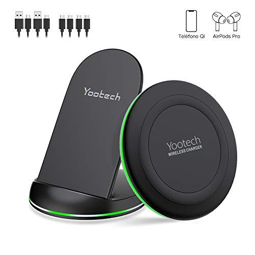 yootech Rápido Cargador Inalámbrico Qi,2 Pack 10W para Galaxy S20/Note10+/Note 10/S10E/S10+/S9/Note 9/S8, 7.5W para iPhone SE 2020/11/11 Pro/11 Pro MAX/XS MAX/XS/XR/X/8+/8, AirPods Pro(No Adaptador)