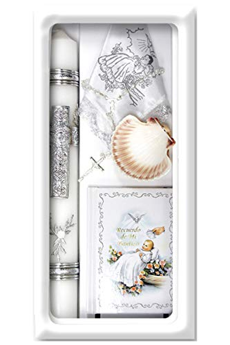 Lito Baptism Candle Set Kit for Christenings with Shell and Favors - Spanish - Silver