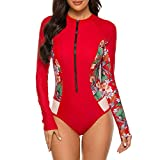 Durio Damen Badeanzug Langarm Einteiler Surfanzug Rash Guard UV-Schutz Gepolstert Reißverschluss Bademode Wassersport Surfen One Piece Rote Blumen 34-36