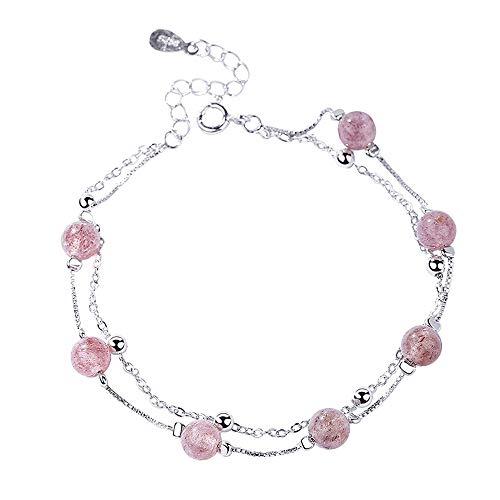 L.J.J 925 Sterling Silber Doppel Armband Rosa Perlen Armband Für Frauen Teens Mädchen